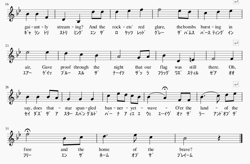 アメリカ国歌楽譜2