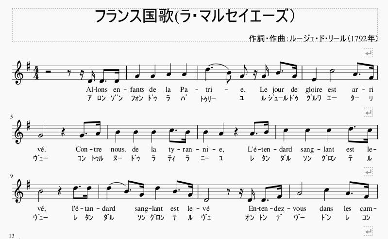 フランス国歌楽譜1