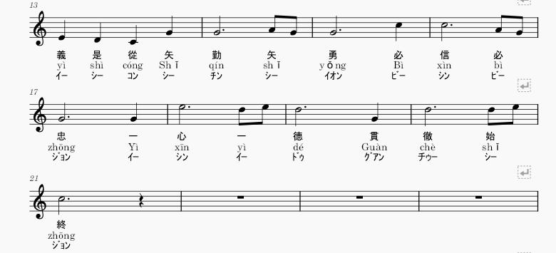 中華民国(台湾)国歌楽譜2